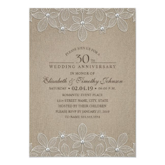 trigésimo Cordón rústico de la perla de la fiesta Invitación 12,7 X 17,8 Cm