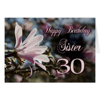 Trigésimo cumpleaños de la hermana con la magnolia felicitación