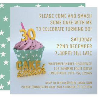 trigésimo El fiesta del choque de la torta de Invitación 13,3 Cm X 13,3cm