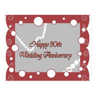 Trigésimo feliz. Aniversario de boda de la perla Postal