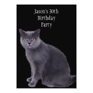 trigésimo Gato del gris de la fiesta de cumpleaños Invitaciones Personales
