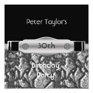 Trigésimo hombre para hombre de la plata del metal invitación 13,3 cm x 13,3cm