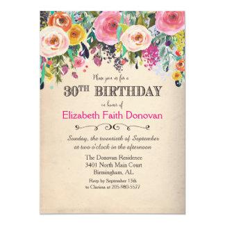 trigésimo Invitación floral de la acuarela del