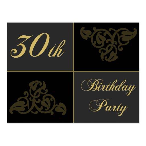 trigésimo Invitaciones de la fiesta de cumpleaños Postal