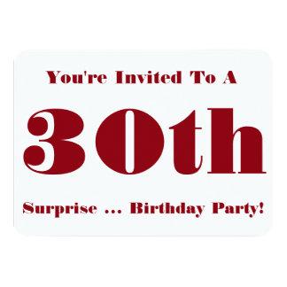 trigésimo La fiesta de cumpleaños de la sorpresa Invitación 11,4 X 15,8 Cm