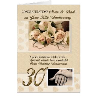 trigésimo Mamá y papá del aniversario de la perla Tarjeta De Felicitación