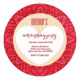 trigésimo Marco rojo V05A del cordón del vintage Invitación 13,3 Cm X 13,3cm