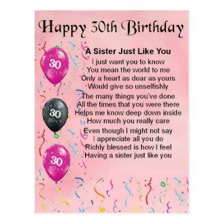 trigésimo Poema de la hermana del cumpleaños Postal