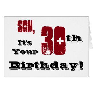 Trigésimo saludo del cumpleaños del hijo en negro, tarjeta