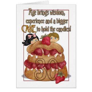 trigésimo Tarjeta de cumpleaños - humor - torta