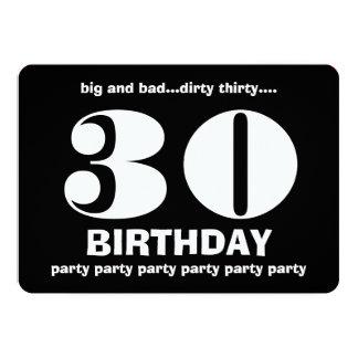 trigésimo Treinta cumpleaños sucio V10 blanco y Invitación 12,7 X 17,8 Cm