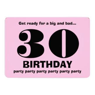 trigésimo V11 rosado y negro de la fiesta de Invitación 12,7 X 17,8 Cm