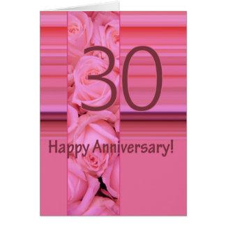 Trigésimos rosas felices del aniversario tarjeta pequeña