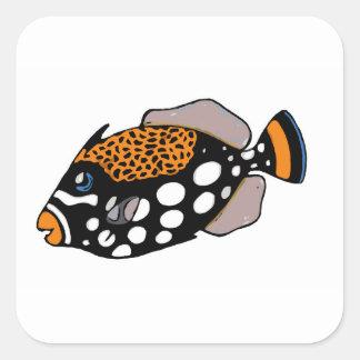 Triggerfish del payaso pegatina cuadrada