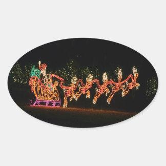 Trineo 2016 de Santa del navidad Pegatina Ovalada