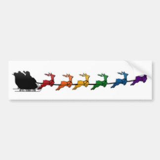 Trineo de Santa con el reno del arco iris Pegatina Para Coche