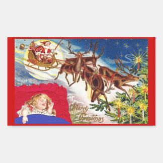 Trineo de Santa de las Felices Navidad Rectangular Pegatina