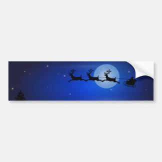 Trineo de Santa sobre paisaje del claro de luna Pegatina Para Coche