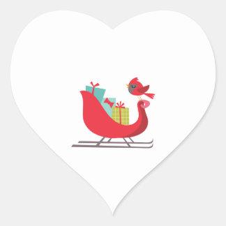 Trineo de Santas Pegatina Corazón