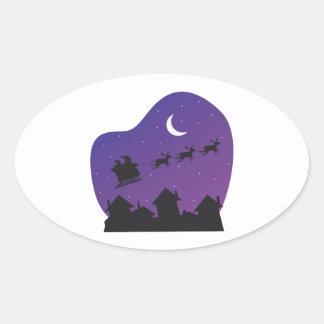 Trineo de Santas Calcomania Oval Personalizadas