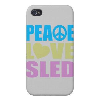 Trineo del amor de la paz iPhone 4/4S funda