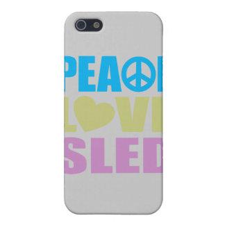 Trineo del amor de la paz iPhone 5 carcasa