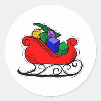 Trineo del juguete de Santa Pegatina Redonda