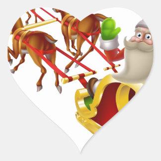 Trineo del navidad de Santa Calcomanía Corazón