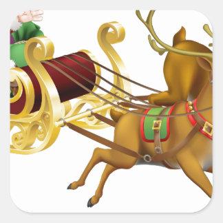 Trineo del navidad de Santa Calcomanías Cuadradases