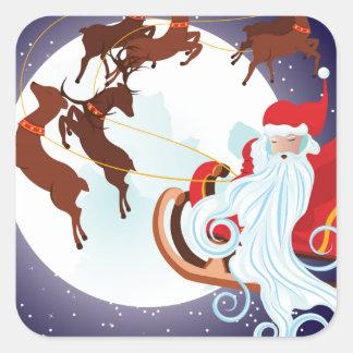Trineo del navidad del montar a caballo de Santa Pegatina Cuadrada