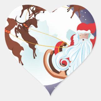 Trineo del navidad del montar a caballo de Santa Pegatina En Forma De Corazón