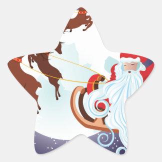 Trineo del navidad del montar a caballo de Santa Pegatina En Forma De Estrella