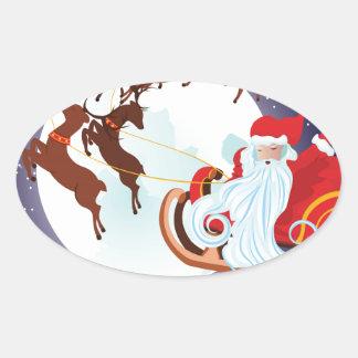 Trineo del navidad del montar a caballo de Santa Pegatina Ovalada