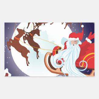 Trineo del navidad del montar a caballo de Santa Pegatina Rectangular