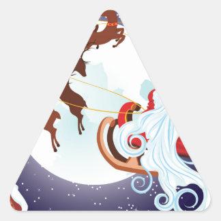 Trineo del navidad del montar a caballo de Santa Pegatina Triangular