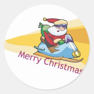 Trineo estupendo de Santa de las Felices Navidad Etiqueta