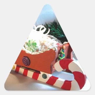 Trineo I del pan de jengibre Pegatina Triangular