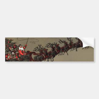 Trineo pasado de moda de Santa y del reno Etiqueta De Parachoque