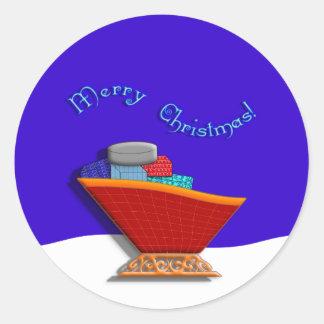 Trineo y regalos de Santas Pegatina Redonda