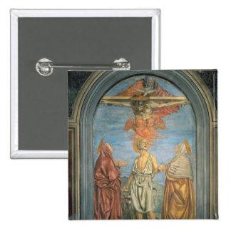 Trinidad santa con St Jerome (fresco) Chapa Cuadrada 5 Cm