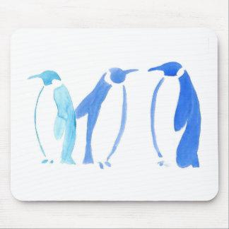 Trío azul del pingüino alfombrilla de ratón