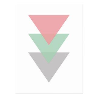 Trío coloreado pastel mínimo de triángulos postal