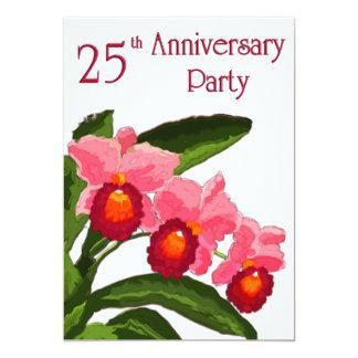 Trío de la fiesta de aniversario 25 de Cattleyas Invitación 12,7 X 17,8 Cm