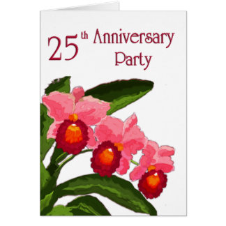 Trío de la fiesta de aniversario 25 de Cattleyas Tarjeta