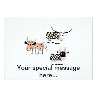 Trío de la vaca invitaciones personalizada