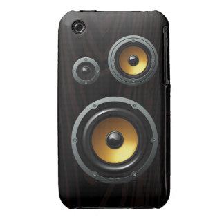 Trío de madera retro de moda del altavoz del grano iPhone 3 Case-Mate carcasas