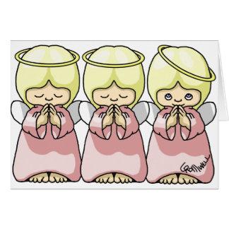 Trío del ángel tarjeta de felicitación