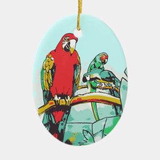 Trío del loro adorno navideño ovalado de cerámica