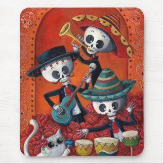 Trío del Mariachi de Dia de Los Muertos Skeleton Alfombrilla De Ratón