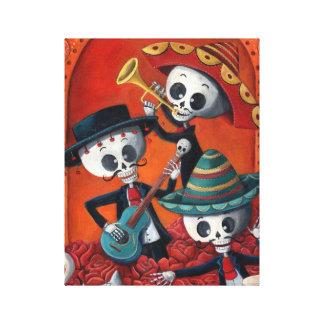 Trío del Mariachi de Dia de Los Muertos Skeleton Impresión En Tela